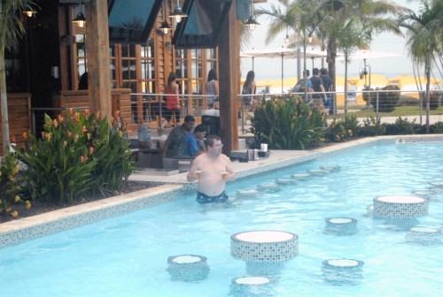 Swim up Bar at the pool in Harvest Caye, Belize