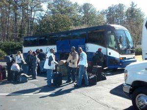 Loading the Party Bus in Atlanta, GA for Urban Ski Weekend