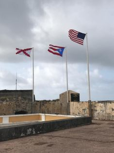 United States and Puerto Rican Flags