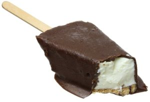 Key Lime Pie, dipped in chocolate, on a stick