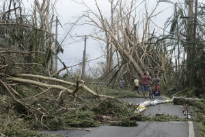 Roads blocked from Hurricane Maria