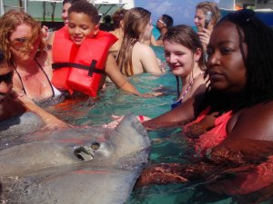 Nikki petting a Stingray