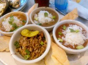 New Orleans Sampler, Gumbo, Red Beans & Rice, Etouffee, and Jambalaya