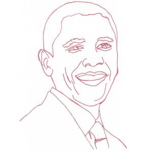 Barack Obama Redwork Block Pattern