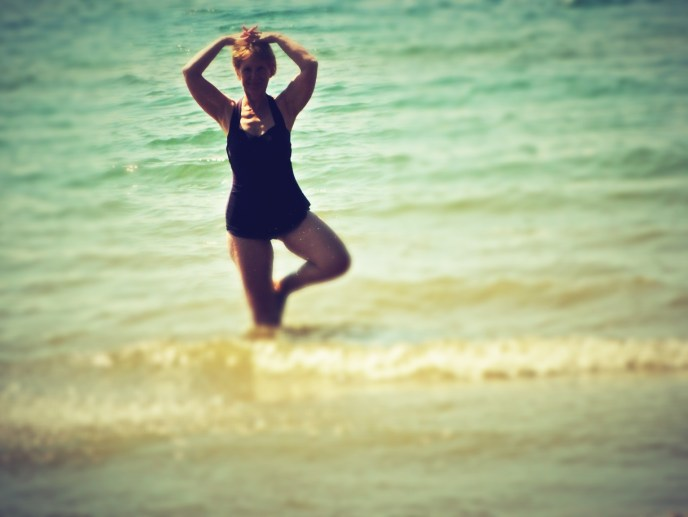 Tree Pose is really difficult when the waves hit.
