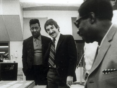 Black To The Music - Muddy Waters and Marshall Chess in the studio. Photo courtesy of Marshall Chess