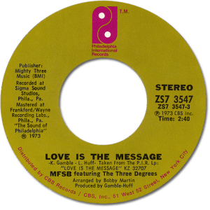 Black to the Music - 45t MFSB - Love Is The Message