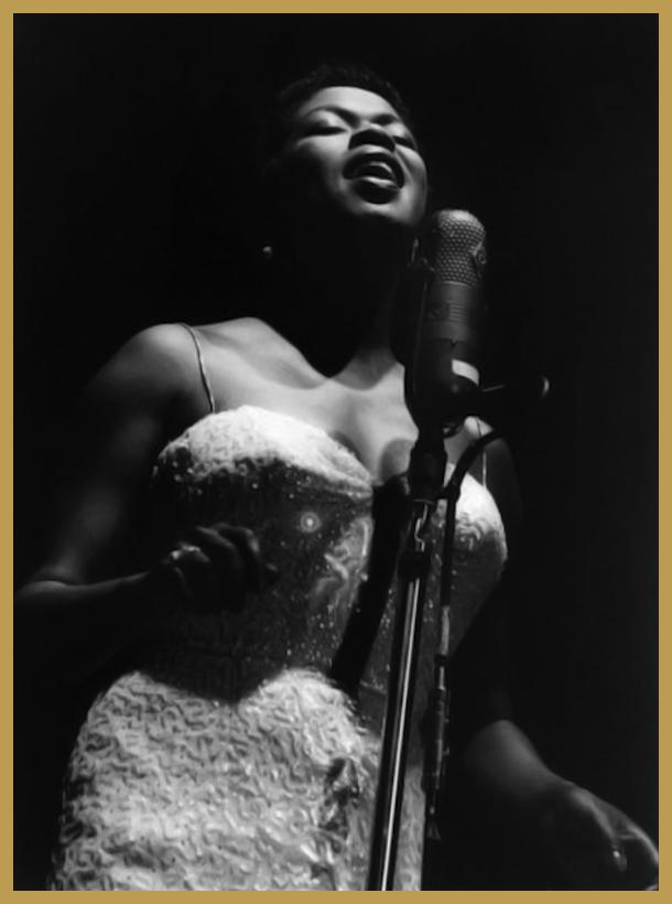 Black to the Music - 1957 Newport Jazz Festival; Sarah Vaughan July 1 (photo Paul Hoeffler-Redferns)