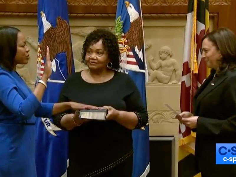 Ceremonial Swearing-In of Kristen Clarke as Asst. Attorney General of Civil Rights at the DOJ. (source: cspan.org)