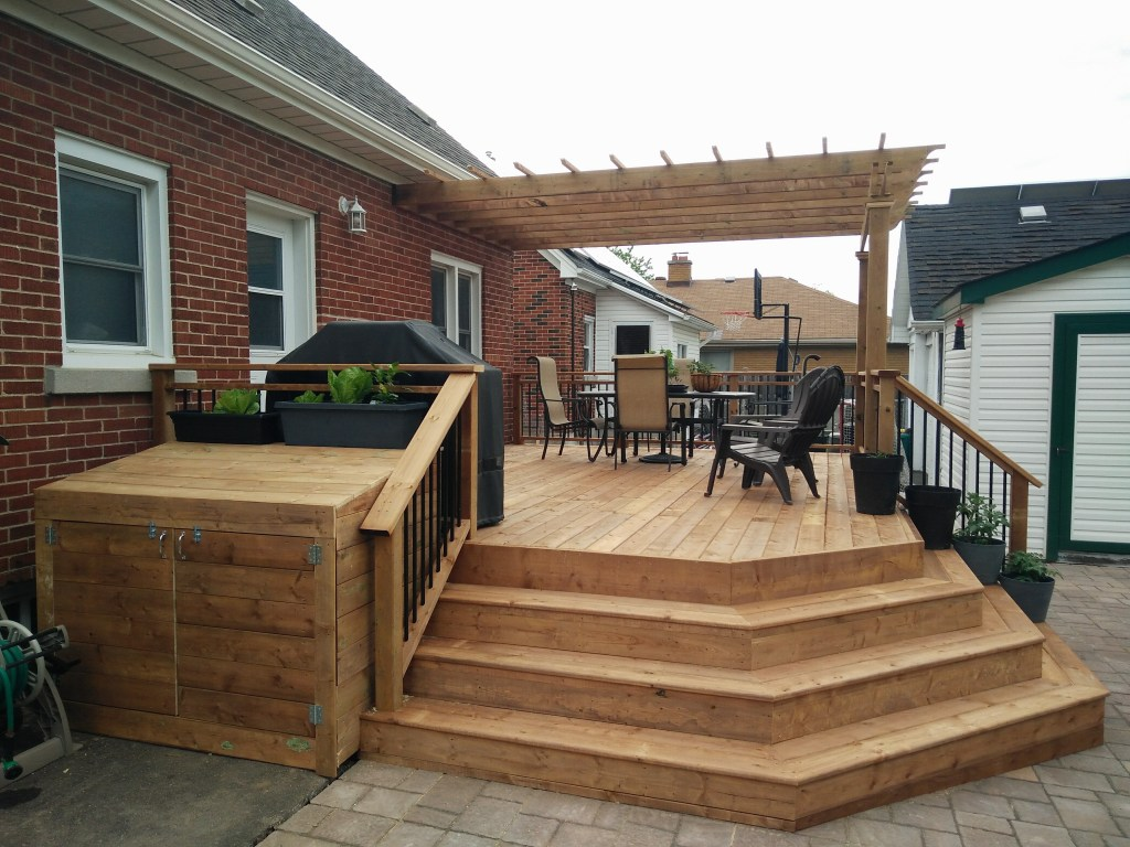 Outdoor deck with angled stairs