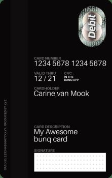 Von hinten sieht man das zweite Kartenfeld. Es ist frei beschriftbar bei der Kartenbestellung. Der benötigten CVC Code für Internetzahlungen ist nur in der App zu finden. Ein sehr gutes Sicherheitsfeature.