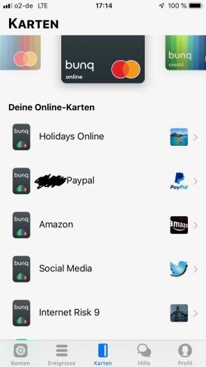 Bei bunq kann man bis zu 5 virtuelle Kreditkarten erstellen. Es ist möglich sie jederzeit in Echtzeit zu löschen und einfach eine neue zu erstellen. Diese Karten lassen sich den Konten einfach zuordnen. Das ist jederzeit frei änderbar.