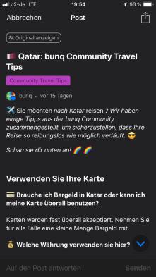 Die Travel Tips in der bunq App sind sehr praktisch. Scrollt man nach unten, erhält man sehr viele Informationen über den Zielort.