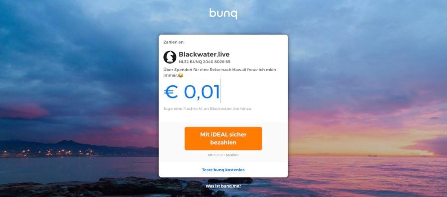 Blackwater.live - bunq me Zielseite