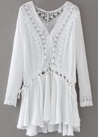 Zaful - Robe Tunique Avec Lacet Et Des Manches Longues - Blanc L