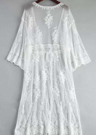 Zaful - Le Kimono De La Mariée En Dentelle Surdimensionnée Bordé - Blanc
