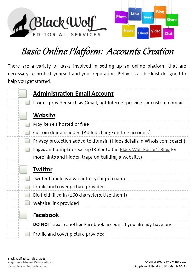 Front Page of Basic On-Line Platform Checklist