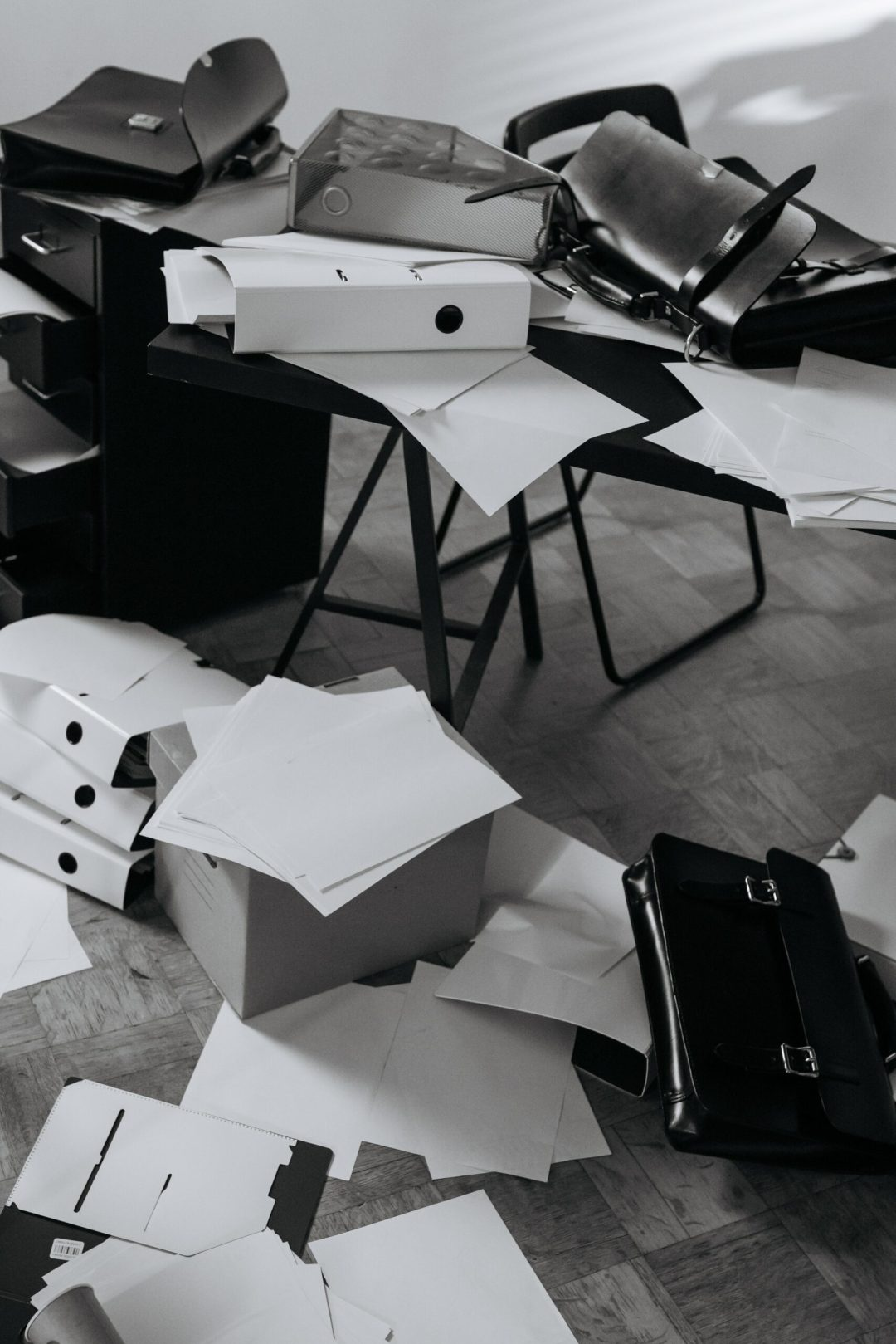 Scattered paper everywhere