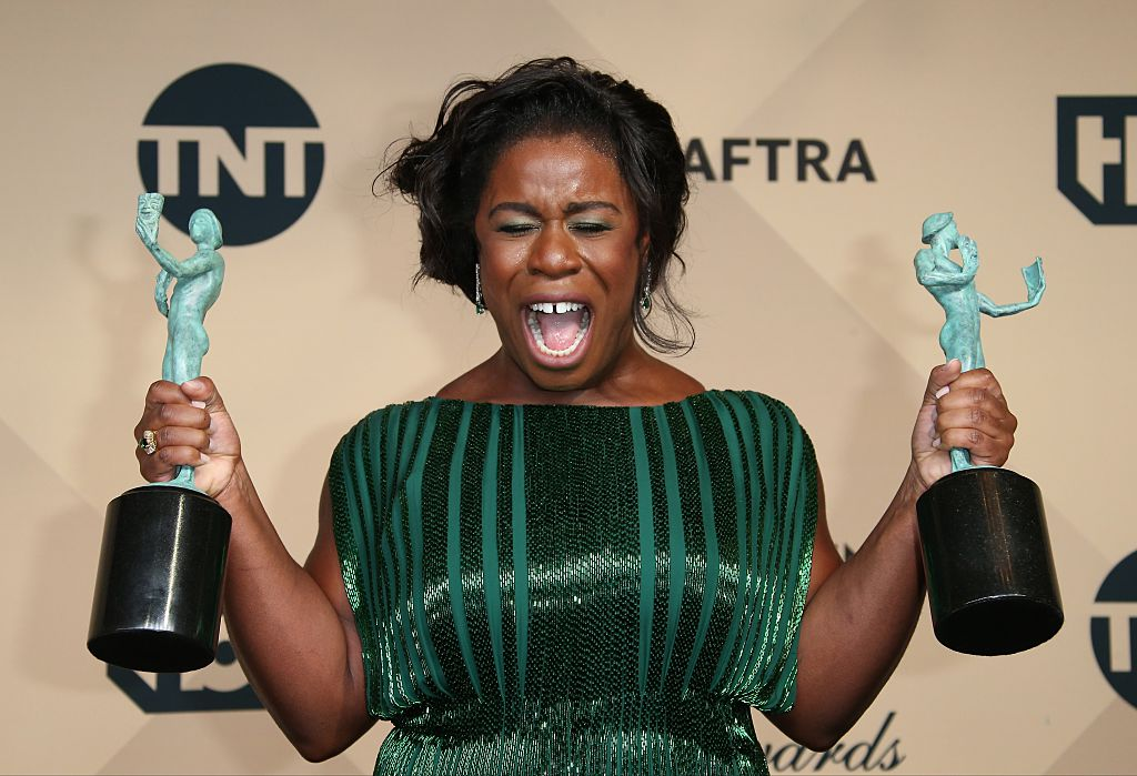 LOS ANGELES, CA - JANUARY 30: Actress Uzo Aduba, winner of Outstanding Performance By a Female in a Comedy Series and Outstanding Performance By An Ensemble in a Comedy Series for 'Orange is the New Black,' poses in the press room at the 22nd Annual Screen Actors Guild Awards at The Shrine Auditorium on January 30, 2016 in Los Angeles, California.