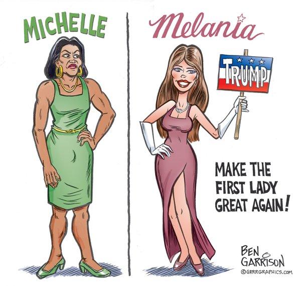 Political Cartoon from Garrison's Twitter Account.