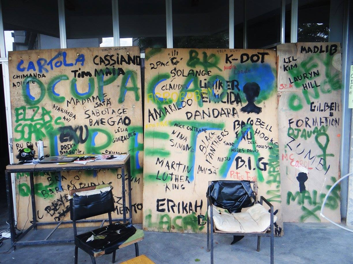 """Ocupação Preta"" - ""Black Occupation"" is painted on the entrance to Quilombo, along with the names of Black inspirational figures from Brazil, the US and beyond (Photo from Ocupação Preta UFF)"