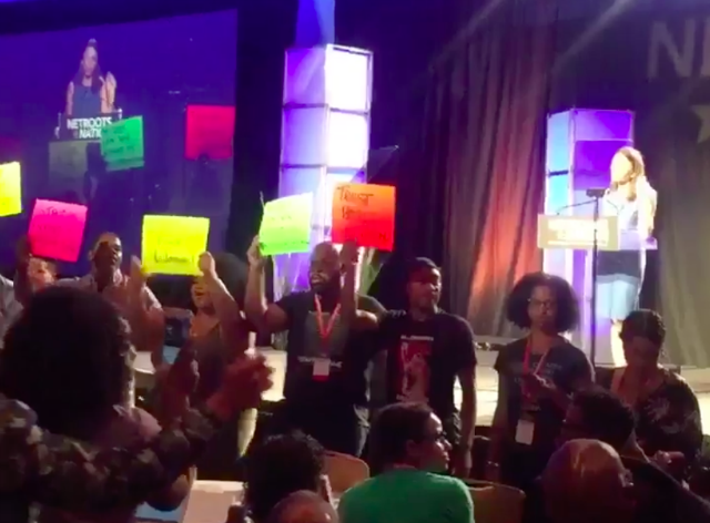 Protestors at Netroots Nation Conference interrupt speech by Georgia governor hopeful