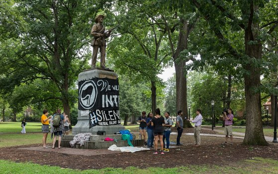 Administration rebukes UNC protesters who toppled notorious confederate statue to the ground