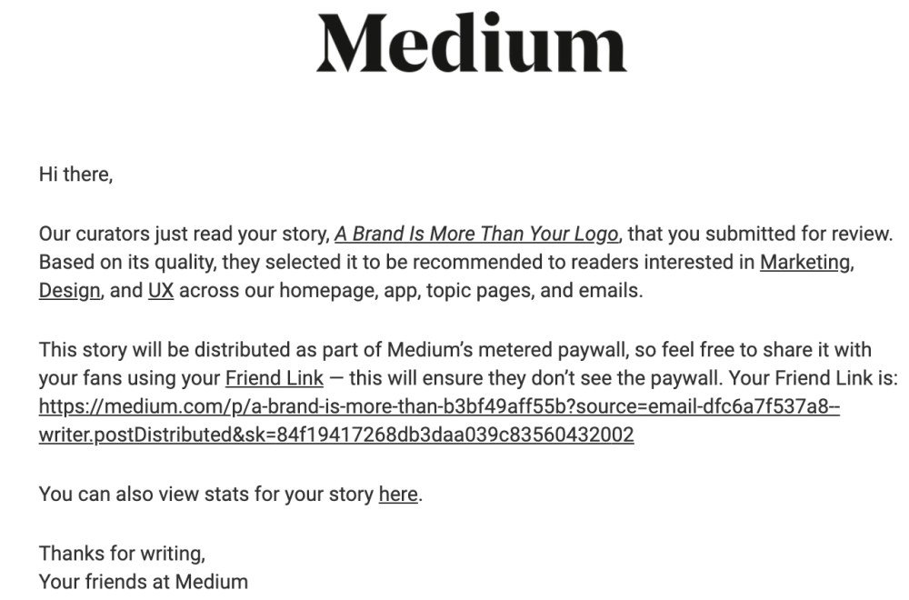 Medium curation email