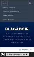 My blog: homepage and menu (phone). Mo bhlag: leathanach baile agus clár (fón)