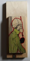 """Aggregate, 2014, mixed media on wood, 4.5"""" x 12.25"""" x 1.63"""