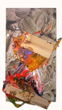 """Events in Nature and Painting, acrylic and wooden boards on digital print on canvas, 78x45"""", 2002"""