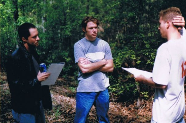 Blake Barham Naleid works with his actors on the set of the short film The Land