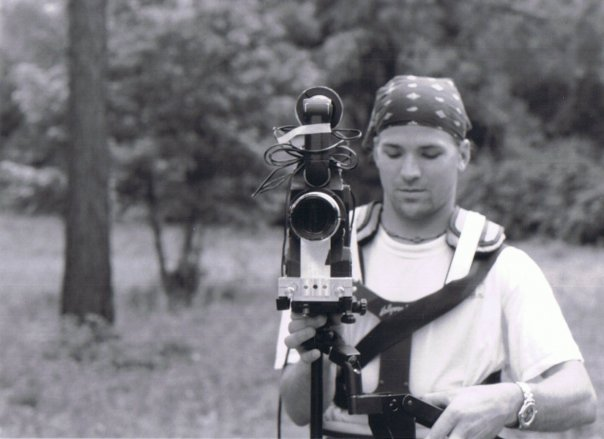 The cinematographer Carson Reaves with the Arriflex Cinemascope Rig