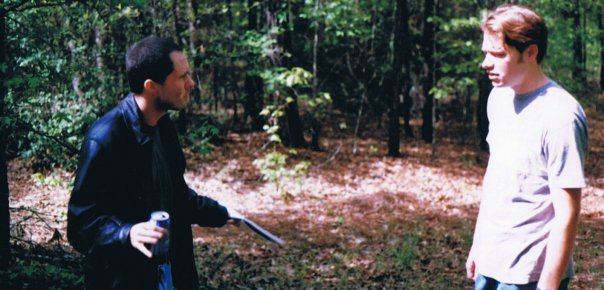 Actors Marcus Lomas and Taylor Hayden rehearse a confrontation on the set of The Land