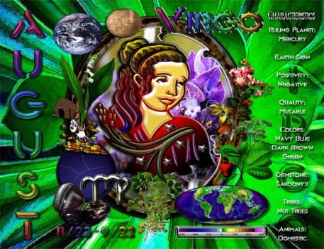 Virgo Zodiac Sign Calendar Characteristic Elements