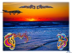 """New Art Titled: Tequila Sunrise Over Atlantic Big Beach Big Fun. Here in Daytona Beach we are know for are """"Big Beach, Big Fun"""" & """"Worlds Most Famous Beach"""" mottos so I included a set of stylishly designed beautiful women. We are also know for the aero"""