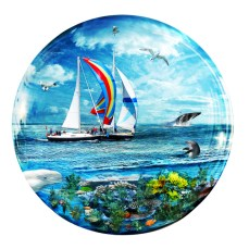 New Art Release Titled: Big Blue Ocean Bubble Natures Playground. Fantasy aquatic life, glass bubble made up completely of digitally edited nature photography.