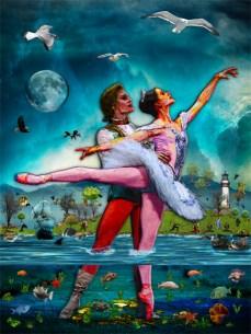 New Art Release Titled; Blue Moon Ballet A Complete Fiction. Ocean floor cutaway of ballet dancers dancing on golden treasure, between the fish and seaweed on floor of the ocean.