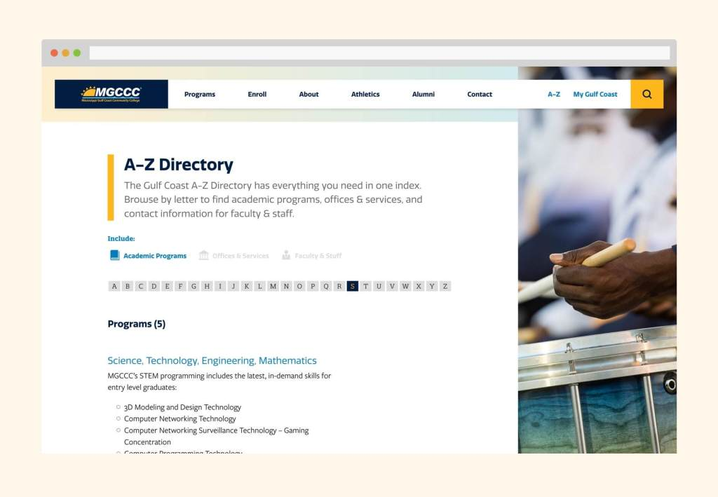 Desktop view of the A-Z directory showing filters for programs, services, and staff. It also includes alphabetical filters.