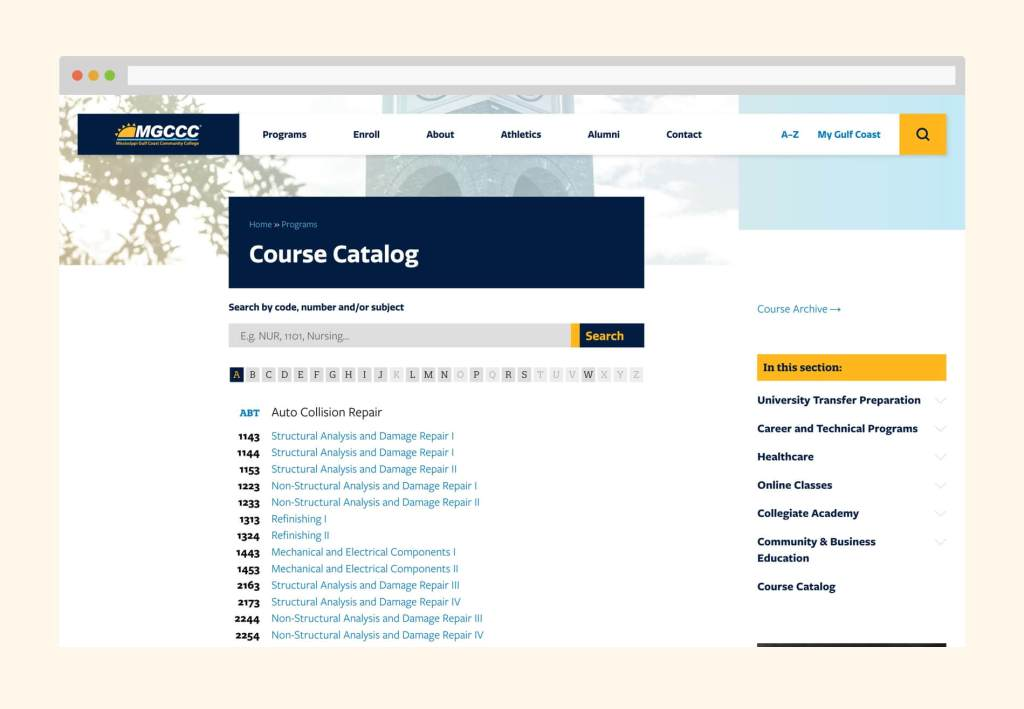 Desktop view of the course catalog showing course listings grouped by course prefix. Above the listing is a search field and alphabetical filters.