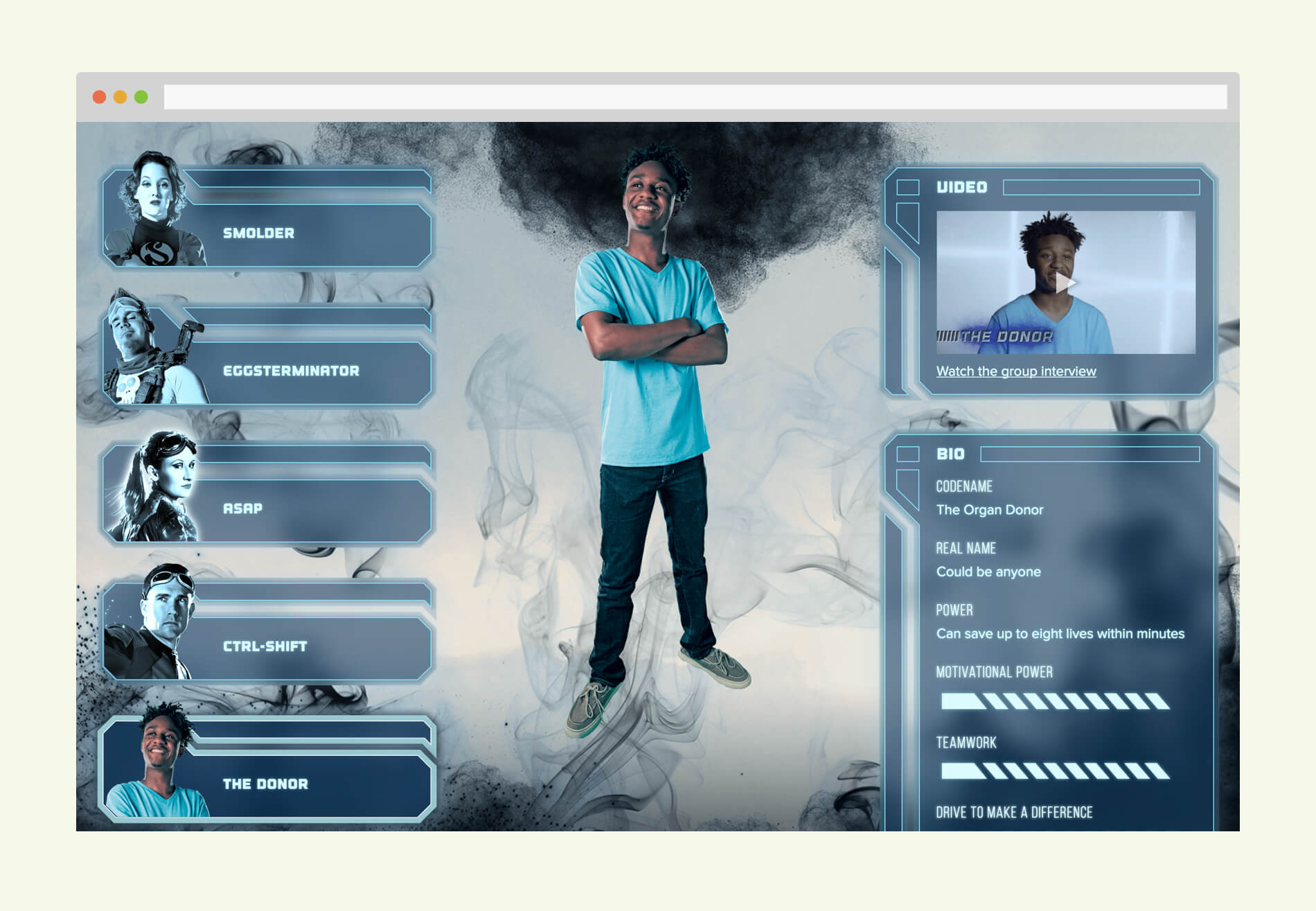 League of Lifesavers page showing one of the heros, The Donor, who looks like an ordinary young adult wearing a tee shirt and jeans. Shows art, video thumbnail, and accompanying backstory.