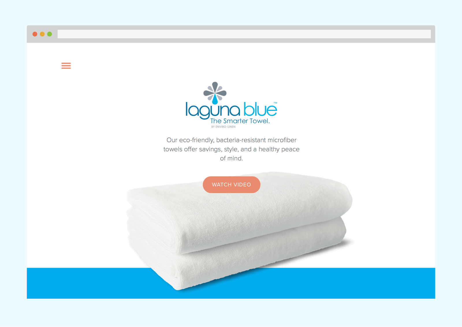 Homepage features stark design with large, cut out photo of towel