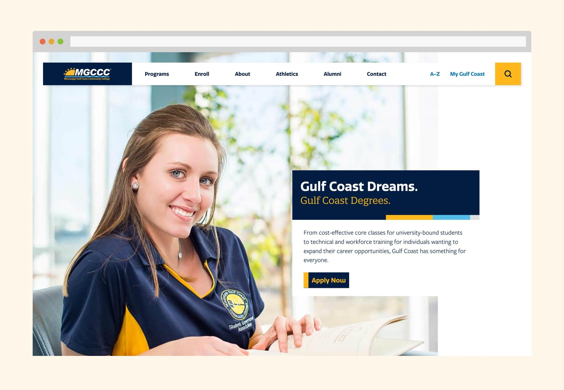 Desktop view of homepage featuring a happy student and the headline, 'Gulf Coast Dreams. Gulf Coast Degrees.'