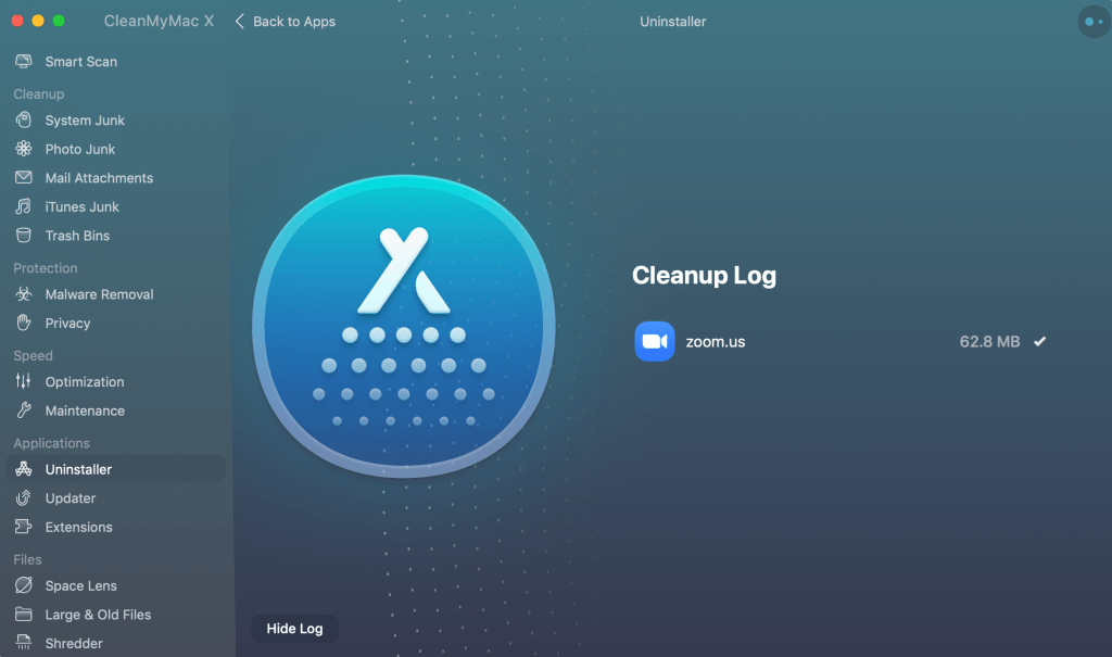 Screenshot of CleanMyMac X uninstalling Zoom from my computer.