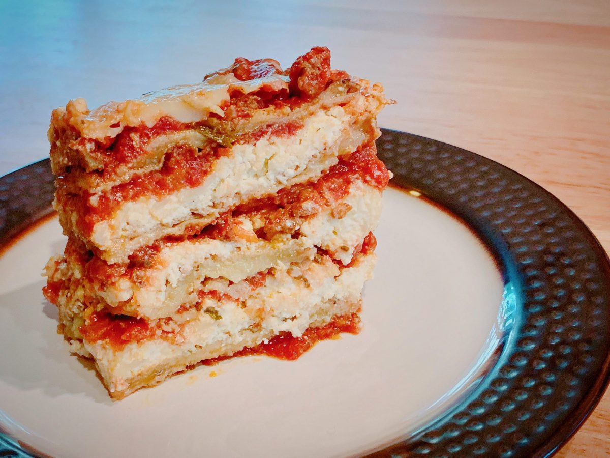 Layered Eggplant Lasagna (Instant Pot)  Layers of Eggplant and Ricotta with Tomato Sauce. Cooked in the Instant Pot Yum!