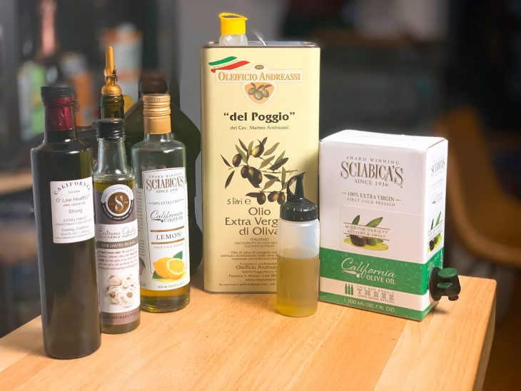 A selection of olive oils
