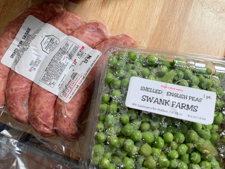 Pork and apricot sausage and fresh peas