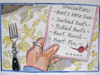 """This is the menu of food for the day That was cooked at the restaurant down by the bay That was owned by the lady That loved to sautee That shopped with the people who smiled and said """"hey!"""" That waved to the boy That pulled the wagon That carried the beet That Tom grew."""