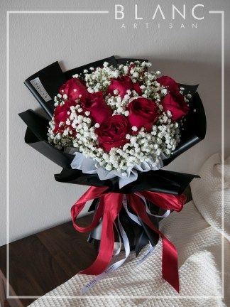 VALENTINE'S DAY RED ROSE & BABY's BREATH BOUQUET