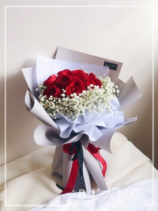 TOKYO – VALENTINE'S DAY RED ROSE & WHITE BABY'S BREATH BOUQUET